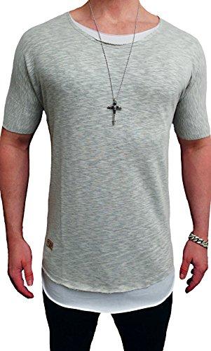 Oversize Double Layer Shirt Destroyed STyle Deep Longshirt Long Swag Herren Sweatshirt NEU Sweat Jacke Pullover Longsleeve m Kapuzenpullover Sweatjacke Pulli (XL, -Camouflage-²) (Double-layer-kapuze)