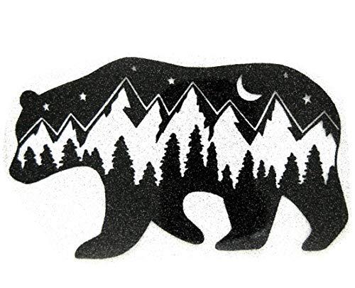 Bügelbilder-Set, Motiv: Bär mit Bergen, Farbe: schwarz, Größe: 20x11,5cm, heißsiegelfähige Flexfolie mit Glitterpartikeln
