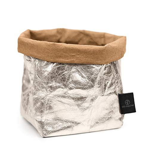 stil-macher Designer Krempelkorb - Gr. M - | Aufbewahrungskorb aus waschbarem Papier | Lederoptik | VEGAN | Deko-Box | Geschenkbox | Übertopf (Silber, Eckig) - Designer-stil Echtes Leder