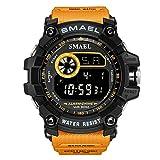 Digital LED Uhren für Herren Leicht zu lesen Digital Großes Gesicht Sportuhren für Männer Orange Silikonband
