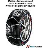 Chaines neige à tension Automatique 9 mm pour roues 13 pouces 205/55R13 - Haute Qualité Montage Facile & Rapide!