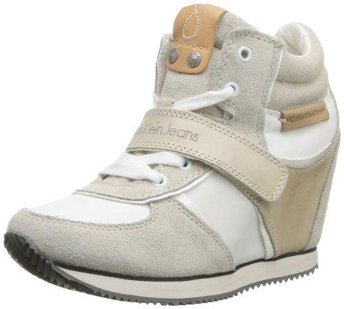 Calvin Klein Jeans Viridiana Suede Nylon Vacchetta Patent, Chaussures de ville femme