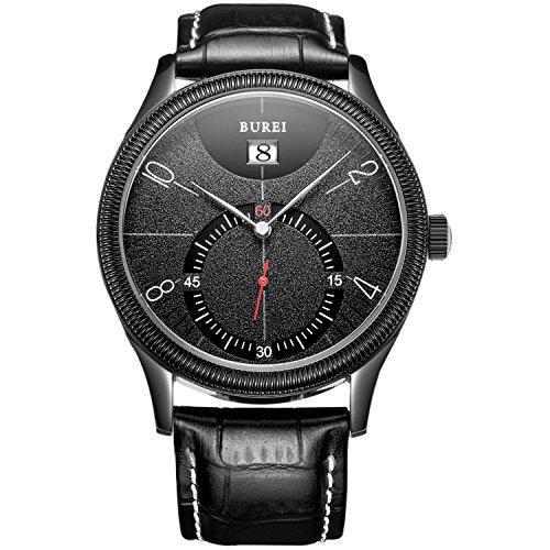 BUREI Herren All Black Quarz Armbanduhr elegant einfach Design Uhr klassisch Lederband schwarz
