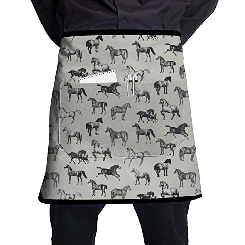 MSGDF Wild Horse Grey Waist Apron Server Apron with Pockets Commercial Restaurant Waitress Waiter Waterproof Kitchen Apron for Men Women Half Bistro Aprons (Halloween Maid Make-up)