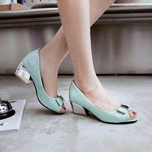 TAOFFEN Femmes Mode Peep Toe Sandales Bloc Talons Moyen A Enfiler Chaussures De Bowknot Bleu