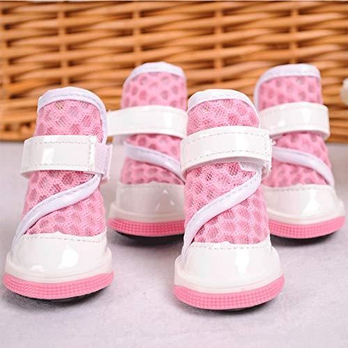 YYJL rutschfeste atmungsaktive Hundestiefel Farbe Mesh Komfortable atmungsaktive Velcro Design Pet Outdoor-Sportschuhe,Pink-2 -
