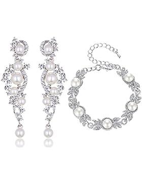 Schmuckset Armband Ohrringe Silber Strass Perlen Braut Hochzeit groß Schmuck XXL (Armband+Ohrringe)