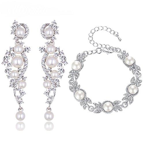 Unbekannt Schmuckset Armband Ohrringe Silber Strass Perlen Braut Hochzeit groß Schmuck XXL (Armband+Ohrringe)