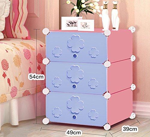 Flashing-DIY Simple en résine en plastique Mini-chevet des enfants Cabinet, Simple moderne armoire de rangement, petit placard armoires avec portes (taille : 49 * 39 * 54cm)