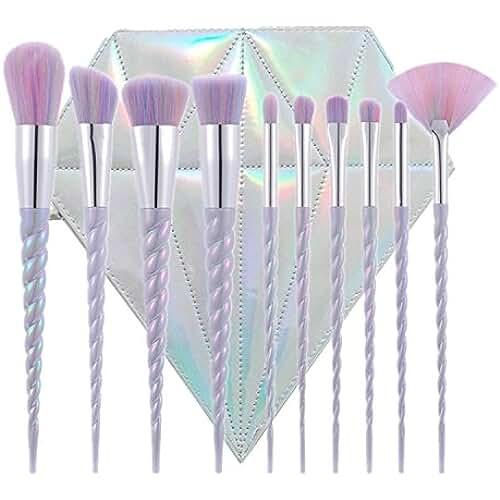 maquillaje unicornio kawaii ttrwin® 10pcs Unicorn–Juego de brochas de maquillaje Kit de herramientas de maquillaje en polvo colorete Lip Fundación Sombra de Ojos unicornio Fantasy cepillos con forma de diamante caso
