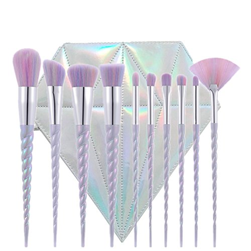 TTRWIN® 10pcs Einhorn Make-up Pinsel Set Fantasy Make-up-Tools Puder Blusher Lip Foundation Lidschatten-Einhorn Make-up Pinsel Kit mit Diamant-Form Fall (Kit Make-up-tools)