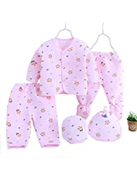 GURU KRIPA BABY PRODUCTS ® Presents New Born Baby Winter Wear Keep warm Cartoon Printing Baby Clothes 5Pcs Sets Cotton Baby Boys Girls Unisex Baby Fleece / Falalen Suit Infant Clothes First Gift For New Baby
