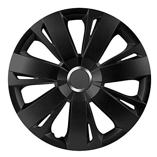 16 Zoll Radzierblenden ENERGY RC BLACK (Schwarz mit Chromring). Radkappen passend für fast alle VW Volkswagen wie z.B. Passat!