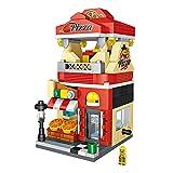 Centro comercial de juguetes, Mini Sushi Helado Pizza Estofado tienda Kit de bloques de bricolaje Casa de muñecas Calle de la comida Playset para niños Chicas Chicos (Pizza)