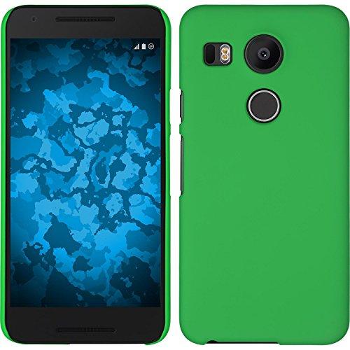 PhoneNatic Case kompatibel mit Google Nexus 5X - Hülle grün gummiert Hard-case + 2 Schutzfolien 5 X Hard Case