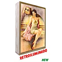Cartel vintage de Madera Iluminados Geisha (20_x_30_cms)