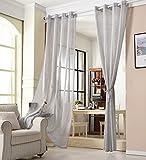 WOLTU VH5861hgr, Gardinen Transparent mit Ösen Leinen Optik, Ösenschal Vorhang Stores Voile Fensterschal Dekoschal für Wohnzimmer Kinderzimmer Schlafzimmer, 140x245 cm, Hellgrau, (1 Stück)