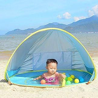 Ray-Velocity Tienda de Playa para el Bebé Instantáneas Refugio con Sistema Pop-up con Mini Piscina Desmontable Protección UV para la Familia Infantil Camping Picnic Jardín Al Aire Libre