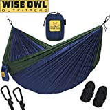 Wise Owl Outfitters Hängematte - Einzel- Und Doppel Camping Hängematten - - Tragbares Leichtes Fallschirm Nylon. DoppeltOwl DO Marineblau Und Waldgrün