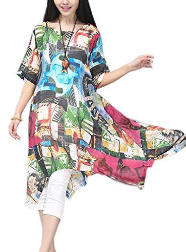 Smile YKK Robe Grande Taille Femme Coton Lin Col Rond Manche Courte avec Motif Casual Mi-long Rouge
