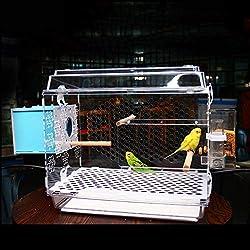 Jaula de pájaros Jaula de Loros Jaula de Cultivo, Jaula de pájaros de acrílico Parrot Villa con estación de alimentación Palo e incubadora para la cría de Aves,TypeB