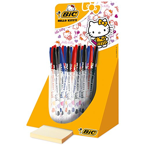 BiC Hello Kitty - Bolígrafo de punta redonda (40 unidades: 15 negros, 15 azules y 10 rojos)