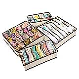 boodtag Set von 4faltbar Schublade Organizer Trennwand Aufbewahrungsboxen faltbar Closet Organisatoren für Unterwäsche BHs Socken Dessous Taschentücher Höschen beige