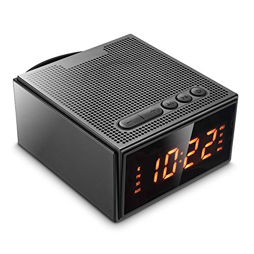 Altavoz Bluetooth,Radio Despertador Inalámbrico - (Pantalla Digital,Luz Regulable,Cuatro Alarma),8W Altavoz Bluetooth Portátil Recargable con 12 Horas de reproducción,Radio FM