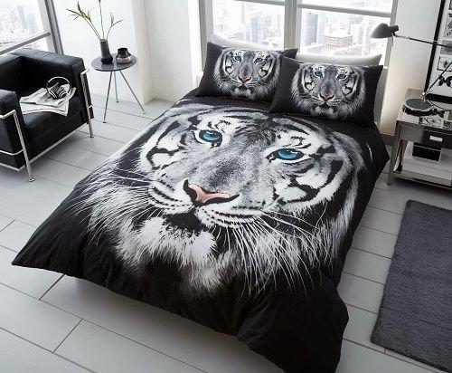 quest-mart ® Luxus 3D Tier Bedruckte Bettdecke/Quilt Cover Set mit Kissenbezügen-Modernes Sortiment (Double, weiß Face Tiger) -