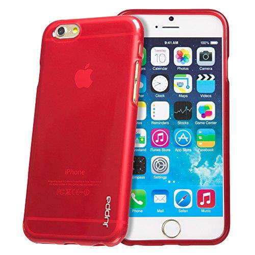 Juppa® Apple Iphone 6 4.7 Zoll TPU Silikon Tasche Hülle Schutzhülle mit LCD displayschutzfolie und Mikro-Reinigungstuch (Rosa / Pink) Rot / Red