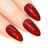 Unghie finte Bling Art Stiletto Rossa Gel 24 Mandorla Lunghe punte in acrilico con colla
