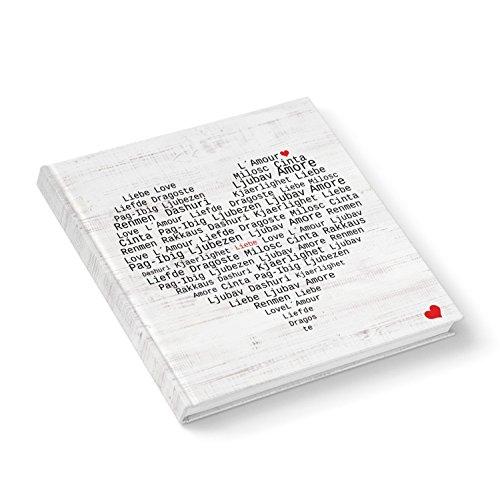 HERZ schwarz rot LIEBE weiß Gästebuch NOTIZBUCH quadratisch 21 x 21 cm international verschiedene Sprachen Tagebuch Blankobuch - Buch ohne alles Geschenk Hochzeit ()