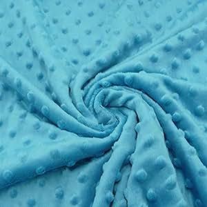 Polaire Minky Dots picots bleu aqua Doudou velours