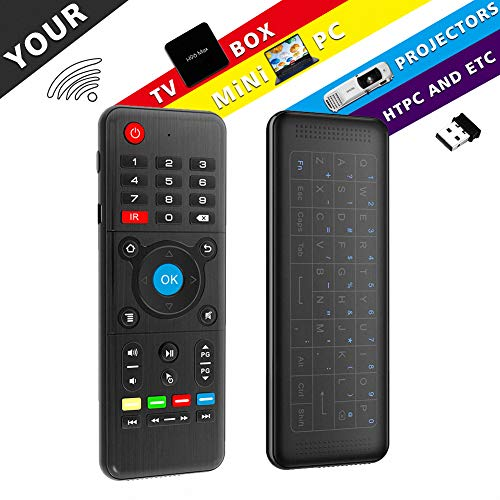 penkou Air Remote Mouse H1, 4G Backlit Fernbedienung, Mini Wireless Keyboard & Infrarot Fernbedienung Lernen, am besten für Android Smart TV Box HTPC IPTV PC Pad Xbox Himbeer-PU 3