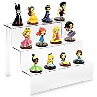 """Ikee Design Acrylic Riser Display Shelf for Amiibo Funko POP Figures, Cupcakes Stand for Cabinet, Countertops 12"""" W x 9"""" D x 9"""" H"""