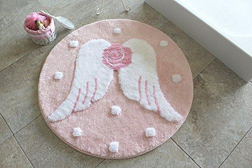 Badteppich 90 cm Kreis rund, hochwertig Stylisch modernes Funny flauschig Shaggy Teppich Antibakteriell rutschfeste Sommer Spring waschbar Dusche Badezimmer Leinen Englisch Rosa geprägt 351 ALS1014 - Englischer Garten-teppich