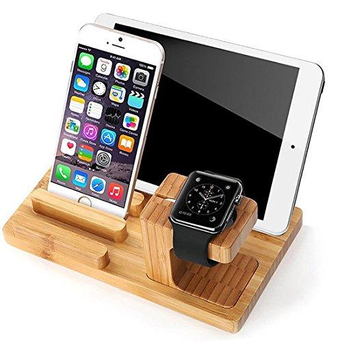 Apple Watch Ständer Bambus Ladeständer Halterung Dockingstation Bambus 2 in 1 Ständer Halter für Apple Smart Watch Ladeständer für iPhone für ipad mini1 / 2/3 für ipad 2/3/4