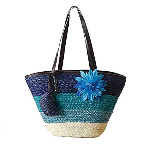 Blau Gestreifte Tote (FAIRYSAN Damen Frauen Medium gestreifte Blumen Brieftasche Handtasche Strand Stroh Tote Korb lässig Farbverlauf Umhängetasche)