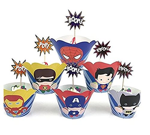 Astra Gourmet 24 Sets Supercute Superheld Cupcake Topper und Wrappers, Avengers Cupcake Topper und Wrappers, Superman Batman Ironman Captain America Spiderman und Robin
