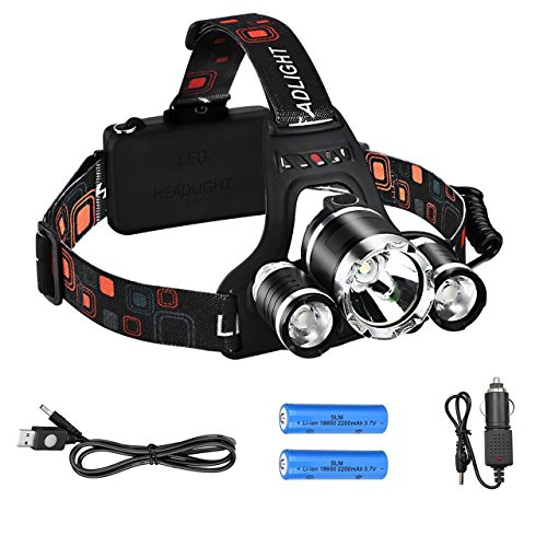 aiqi 6000 Lumen High Power LED Headlamp by, Batteria 3 CREE XM-L T6 fari Luminosi, Impermeabile Testa Torcia Frontale per Outdoor Campeggio Escursionismo Caccia Ciclismo Running