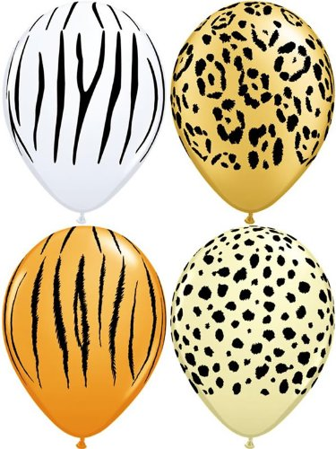 10 x Spezial verschiedene Safari Animal Haut Party/Geburtstag Luftballons - 27,9 cm (Tiger/Cheetah/Leopard/Zebra) (Party Supplies Leopard-geburtstag)