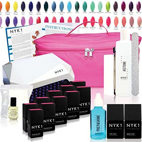 Nyk1 – LED Essentials – Kit de vernis à ongles gel Essentials avec toutes les couleurs. Full LED à ongles gel Starter Kit – avec Dissolvant Acétone, Top Coat et base coat et étui de transport inclus – des Centaines de Nailac Couleurs au choix