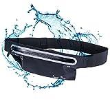 Running Cinturón, Alfort Bolsillo Riñonera Running Belt Impermeable por iPhone / Samsung / Huawei Lycra Material es Muy Suave y Ligero para Mujer y Hombre Correr Negro Menos de 6.3 pulgadas