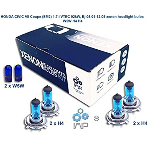 honda civic vii coupe em2 1.7 i vtec 92kw, bj 05.01-12.05 lampadine allo xenon w5w h4 h4