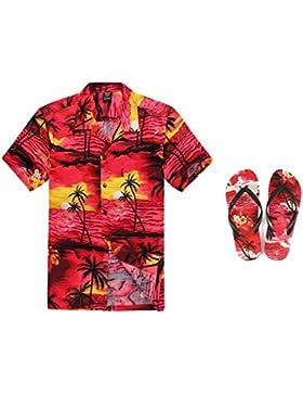 Hombres que emparejan el equipo hawaiano de Luau Camisa Aloha y Chanclas en Puesta de sol rojo
