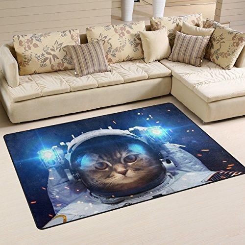 Galaxy-naanle rutschfeste Bereich Teppich für Dinning Wohnzimmer Schlafzimmer Küche, 50x 80cm (7x 2,6m), die Katze im Weltall Teppich Kinderzimmer-Teppich Yoga-Matte, multi, 50 x 80 cm(1.7' x 2.6') (Hartholz Küche)