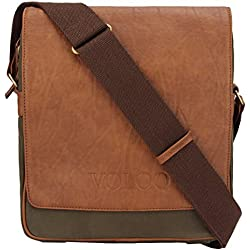 Saltoro Top-Selling Cross-body Sling satchel laptop shoulder messenger hand-bag for men & women ipad tabs & Macbook 13 inch Vintage Stylish Canvas Vegan Leather Ideal for Air-travel