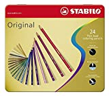 Crayon de couleur - STABILO Original - Boite métal de 24 crayons de couleur à mine fine - Coloris assortis