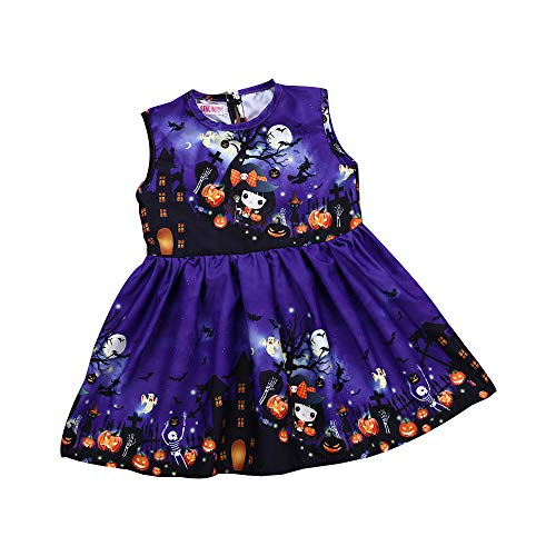 OverDose Damen Halloween Kleinkind Kinder Baby Mädchen Cartoon Sleeveless Party Clubbing Geister Horror Cosplay Prinzessin Kleid Kleidung Kleid (Halloween Tattoo Kostüm Ideen)