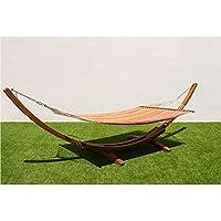 MI HAMMOCK Soporte hamaca madera doble,Hamaca jardin exterior,Hamaca camping beach,Tamaño-hamaca:200x150cm Marco:420x120x120cm